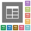 Spreadsheet vertically merge table cells square flat icons - Spreadsheet vertically merge table cells flat icons on simple color square backgrounds