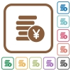 Yen coins simple icons in color rounded square frames on white background - Yen coins simple icons