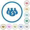 Money bags icons with shadows and outlines - Money bags flat color vector icons with shadows in round outlines on white background