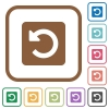 Rotate left simple icons in color rounded square frames on white background - Rotate left simple icons