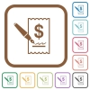 Signing Dollar cheque simple icons - Signing Dollar cheque simple icons in color rounded square frames on white background