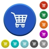 Shopping cart beveled buttons - Shopping cart round color beveled buttons with smooth surfaces and flat white icons