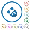 Size lock icons with shadows and outlines - Size lock flat color vector icons with shadows in round outlines on white background