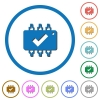 Hardware checked icons with shadows and outlines - Hardware checked flat color vector icons with shadows in round outlines on white background