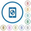 Smartphone protection icons with shadows and outlines - Smartphone protection flat color vector icons with shadows in round outlines on white background