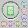 Mobile social network push buttons - Mobile social network color icons on sunk push buttons