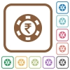 Indian Rupee casino chip simple icons - Indian Rupee casino chip simple icons in color rounded square frames on white background