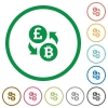 Pound Bitcoin money exchange flat icons with outlines - Pound Bitcoin money exchange flat color icons in round outlines on white background