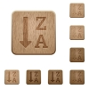 Alphabetically descending ordered list wooden buttons - Alphabetically descending ordered list on rounded square carved wooden button styles