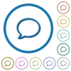 Empty comment bubble icons with shadows and outlines - Empty comment bubble flat color vector icons with shadows in round outlines on white background