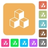 Cubes rounded square flat icons - Cubes flat icons on rounded square vivid color backgrounds.