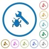 Bug fixing icons with shadows and outlines - Bug fixing flat color vector icons with shadows in round outlines on white background
