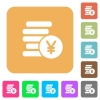 Yen coins rounded square flat icons - Yen coins flat icons on rounded square vivid color backgrounds.