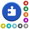 Puzzle beveled buttons - Puzzle round color beveled buttons with smooth surfaces and flat white icons