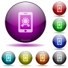 Mobile certification icons in color glass sphere buttons with shadows - Mobile certification glass sphere buttons