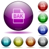 BAK file format icons in color glass sphere buttons with shadows - BAK file format glass sphere buttons