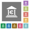 Euro bank office square flat icons - Euro bank office flat icons on simple color square backgrounds