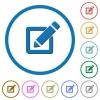 Editing box with pencil icons with shadows and outlines - Editing box with pencil flat color vector icons with shadows in round outlines on white background