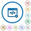 Web development icons with shadows and outlines - Web development flat color vector icons with shadows in round outlines on white background