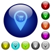 Department store GPS map location color glass buttons - Department store GPS map location icons on round color glass buttons