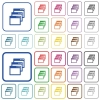 Cascade window view mode outlined flat color icons - Cascade window view mode color flat icons in rounded square frames. Thin and thick versions included.