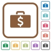 Dollar bag simple icons - Dollar bag simple icons in color rounded square frames on white background