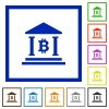 Bitcoin bank office flat framed icons - Bitcoin bank office flat color icons in square frames on white background