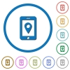 Mobile navigation icons with shadows and outlines - Mobile navigation flat color vector icons with shadows in round outlines on white background