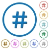 Hash tag icons with shadows and outlines - Hash tag flat color vector icons with shadows in round outlines on white background