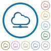Cloud network icons with shadows and outlines - Cloud network flat color vector icons with shadows in round outlines on white background