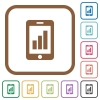 Smartphone signal strength simple icons - Smartphone signal strength simple icons in color rounded square frames on white background