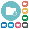 Copy folder flat round icons - Copy folder flat white icons on round color backgrounds