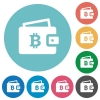 Bitcoin wallet flat round icons - Bitcoin wallet flat white icons on round color backgrounds