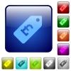 Pound price label color square buttons - Pound price label icons in rounded square color glossy button set