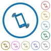 Ringing phone icons with shadows and outlines - Ringing phone flat color vector icons with shadows in round outlines on white background