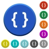 Programming code beveled buttons - Programming code round color beveled buttons with smooth surfaces and flat white icons