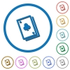 Card game flat color vector icons with shadows in round outlines on white background - Card game icons with shadows and outlines