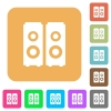 Speakers rounded square flat icons - Speakers flat icons on rounded square vivid color backgrounds.