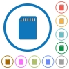 SD memory card icons with shadows and outlines - SD memory card flat color vector icons with shadows in round outlines on white background
