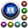 Laptop with Pound sign round glossy buttons - Laptop with Pound sign icons in round glossy buttons with steel frames