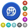 Worldwide beveled buttons - Worldwide round color beveled buttons with smooth surfaces and flat white icons