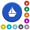 Sailboat beveled buttons - Sailboat round color beveled buttons with smooth surfaces and flat white icons