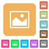 Picture rounded square flat icons - Picture flat icons on rounded square vivid color backgrounds.
