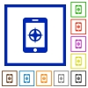Mobile compass flat framed icons - Mobile compass flat color icons in square frames on white background