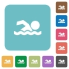 Swimming man rounded square flat icons - Swimming man white flat icons on color rounded square backgrounds