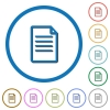 Document flat color vector icons with shadows in round outlines on white background - Document icons with shadows and outlines