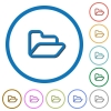 Open folder icons with shadows and outlines - Open folder flat color vector icons with shadows in round outlines on white background