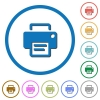 Printer flat color vector icons with shadows in round outlines on white background - Printer icons with shadows and outlines