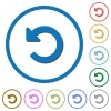 Undo changes icons with shadows and outlines - Undo changes flat color vector icons with shadows in round outlines on white background