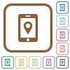 Mobile navigation simple icons - Mobile navigation simple icons in color rounded square frames on white background